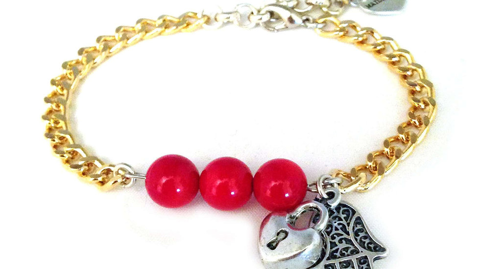 Valentine's Day Bracelet in Gold, Coral and Hamsa.
