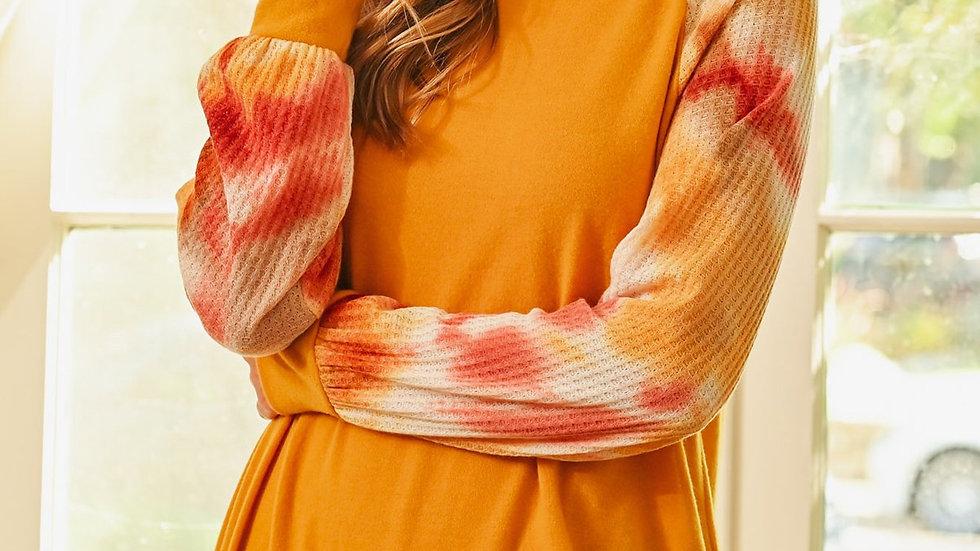 Waffle Tie Dye Sleeve Brushed Hacci Top