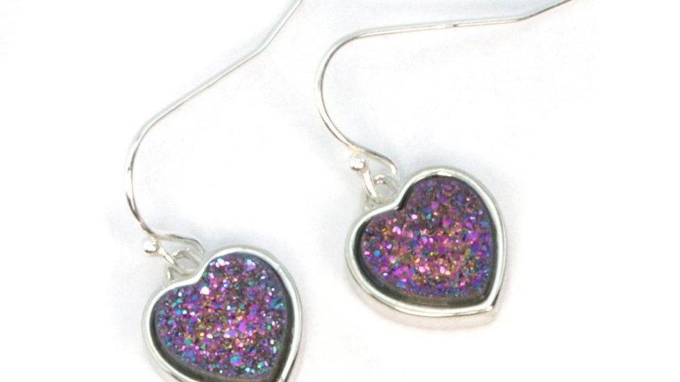 Olivia Heart Druzy Earrings in Silver