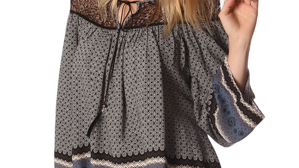 Grey Paisley Print Blouse with Cage Detail