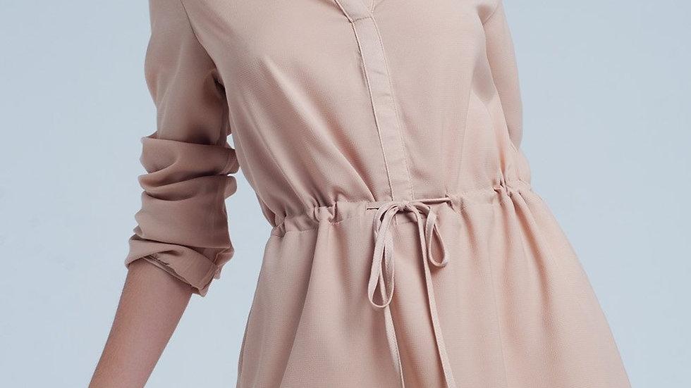 Beige Tie Waist Shirt Mini Dress