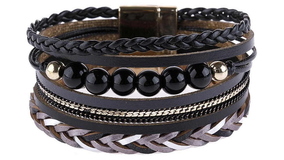 Leather Braided Beads Wrap Magnetic Bracelet