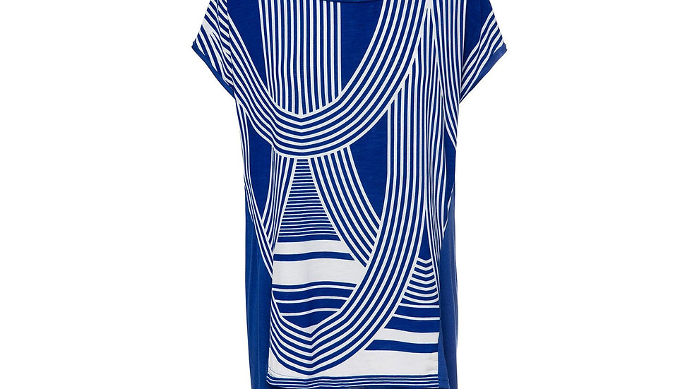 Print Top with Rounded Hemline