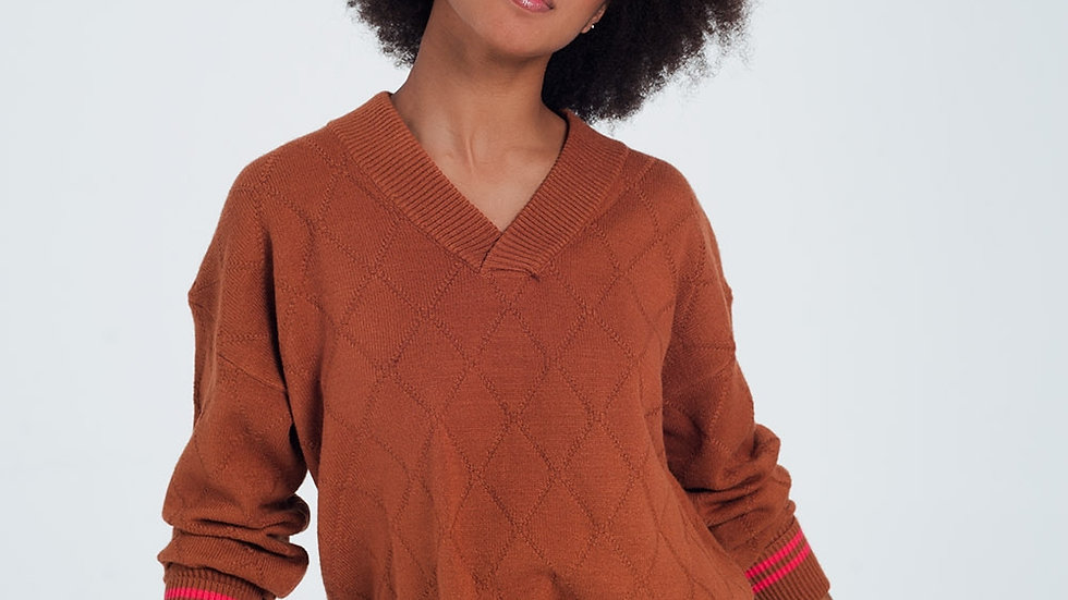 Camel Sweater with Diamond Pattern