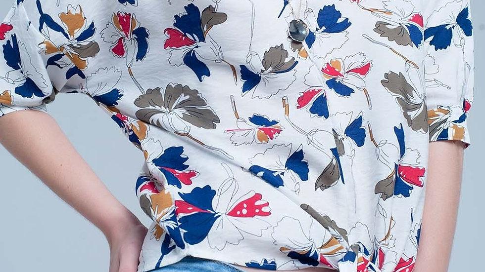 White Floral Tie Front Blouse