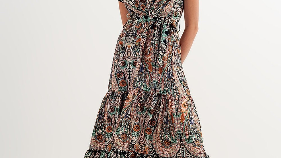Maxi Dress with Tiered Skirt in Mixed Paisely Print