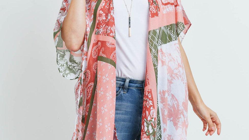 Clay Paisley Multi Print Patch Kimono