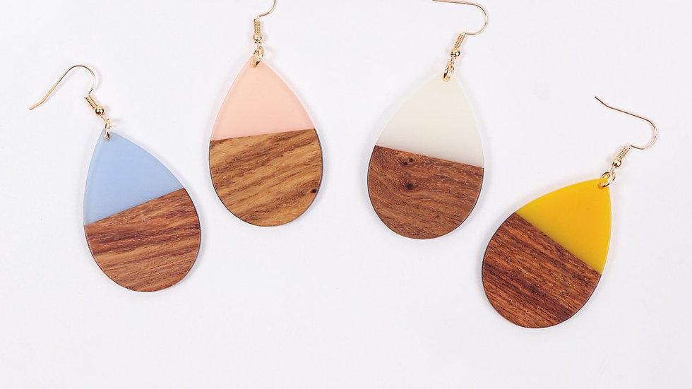 Homaica Wood Pearshape Drop Earrings