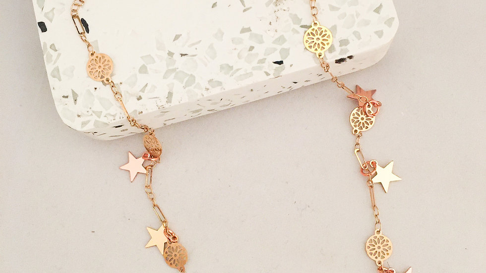 Star Necklace Gold and Rose Gold Star Necklace Choker