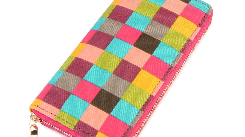 Single Zipper Wallet Checkered