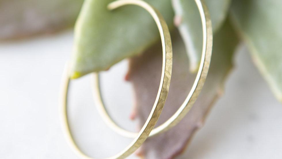 Brass Earrings - Hammered Hoops