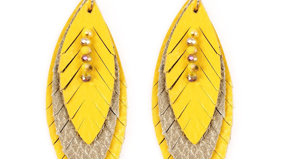 Three Layer Fringe Leather Marquise Earrings
