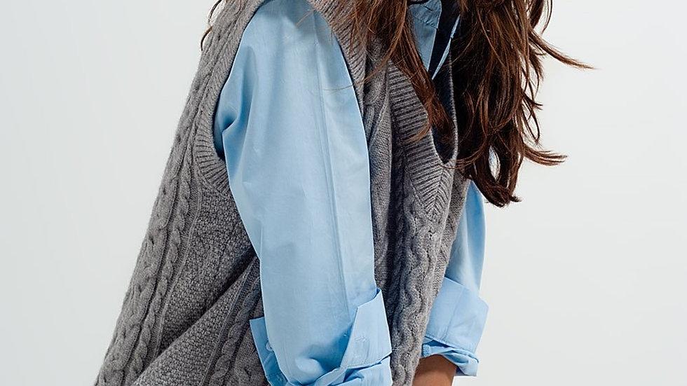 Rib Knitted Vest in Grey