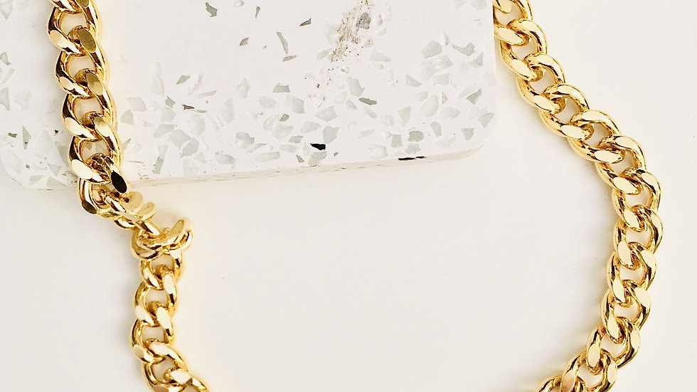 18kt Gold Plated Brass Curb Chain Necklace