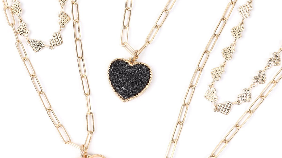Two Layered Druzy Heart Necklace