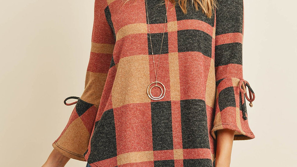 Ribbon Detail Bell Sleeve Plaid Rounded Hem Top