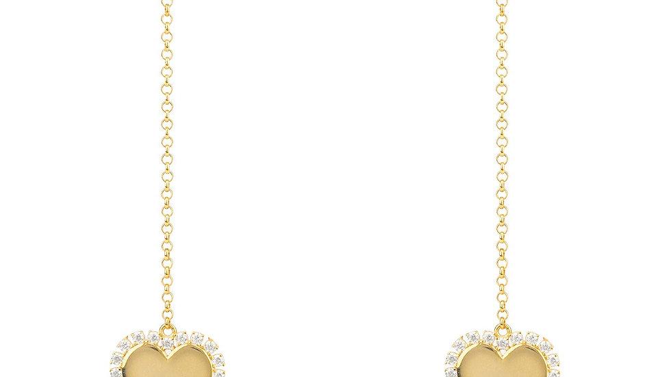 Heart Mirrored Drop Earrings Gold