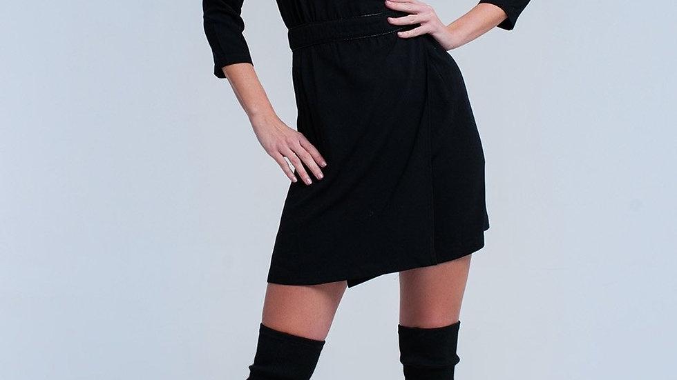 Black Wrap Dress with Lace Detail