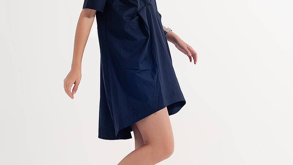 High Low Dress with Empire Waistline in Navy Blue