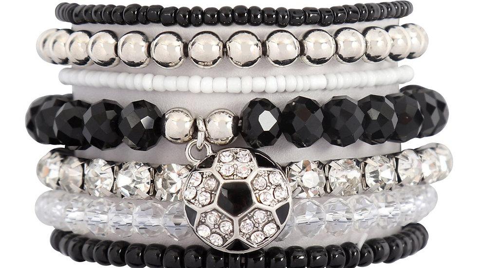 Mixed Beads Charm Soccer Pendant Bracelet