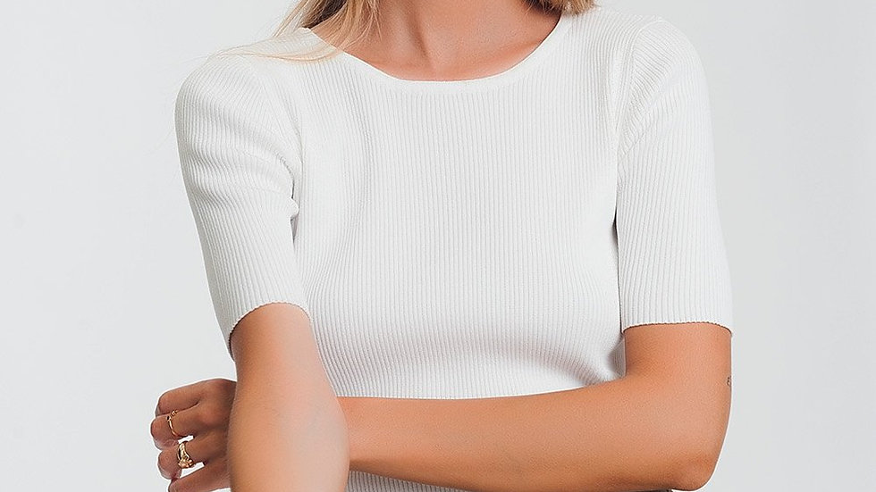 Rib Knitted Sweater with Tie Back in Cream
