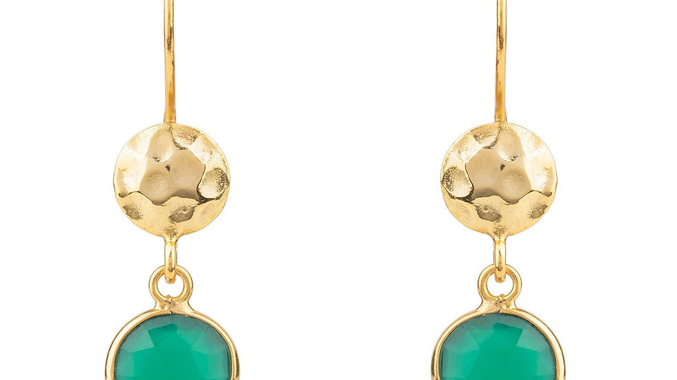 Circle & Hammer Drop Earrings Gold Green Onyx