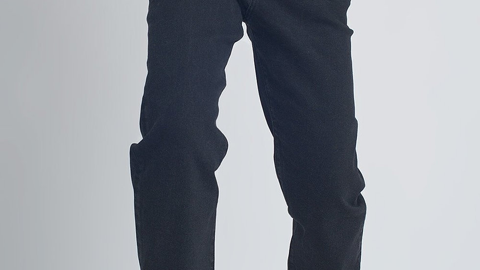 Belted Peg Jeans with Tortoiseshell Buckle in Black