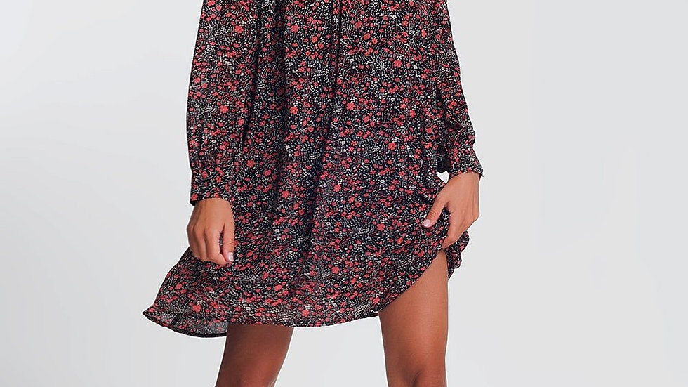 Swing Dress with Long Sleeves in Black Ditsy Floral