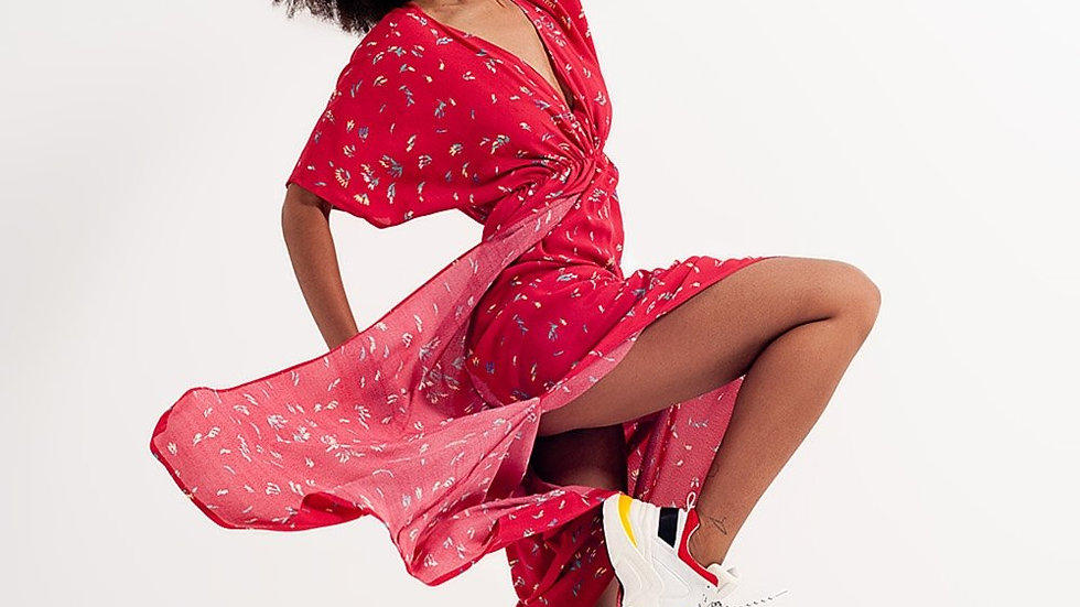 Midi Dress with Side Split in Red Floral