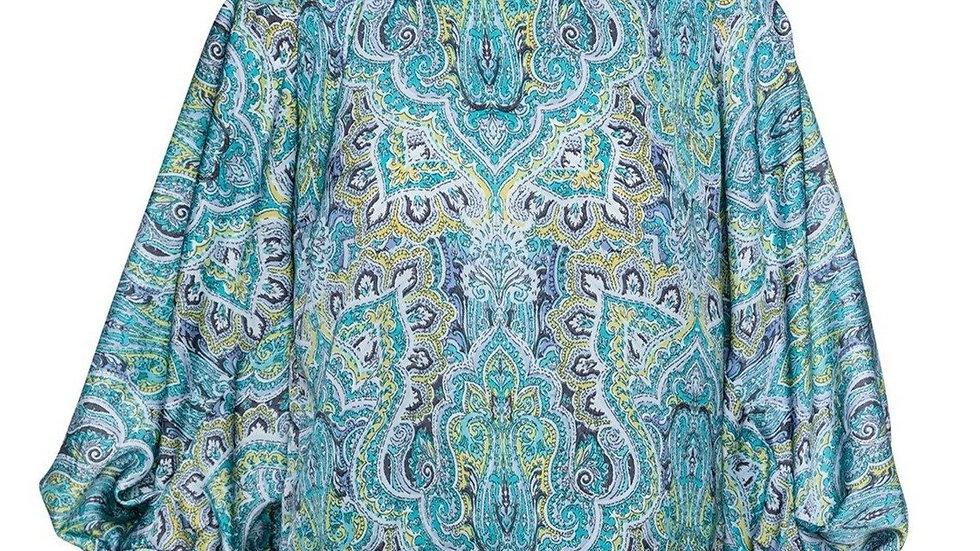 Blue Paisley Print Top with Bishop Sleeves