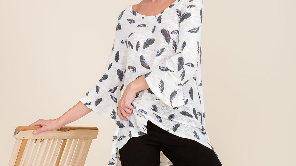 Feather Print Top in White