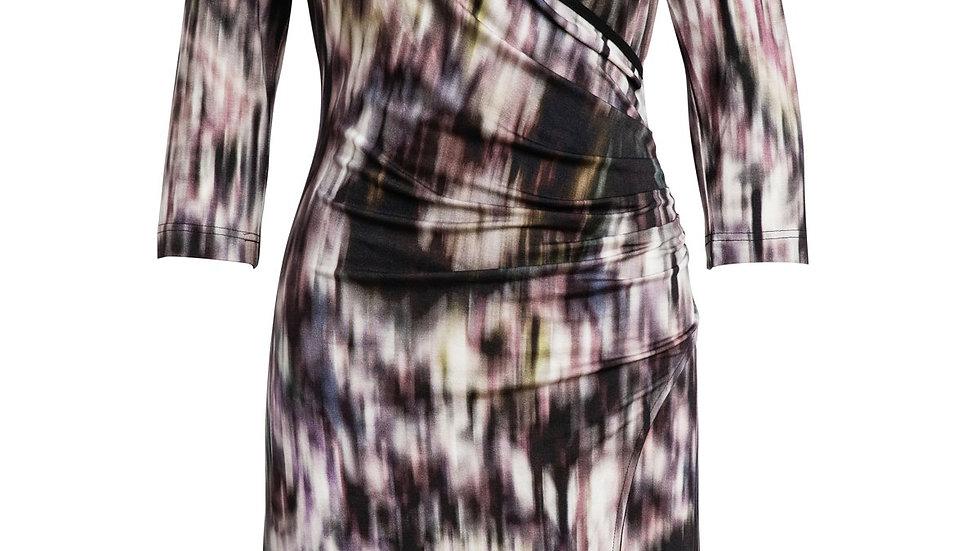 Print Jersey Faux Wrap Dress