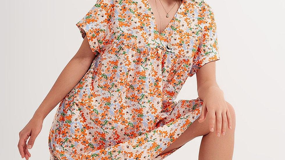 Cotton Babydoll Mini Dress in Orange Floral