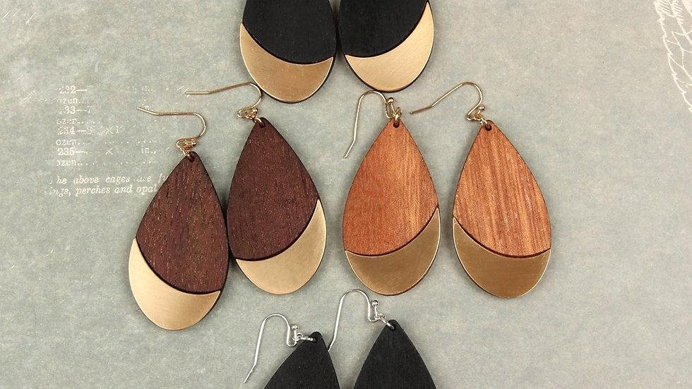 Satin Metal Wood Teardrop Earrings