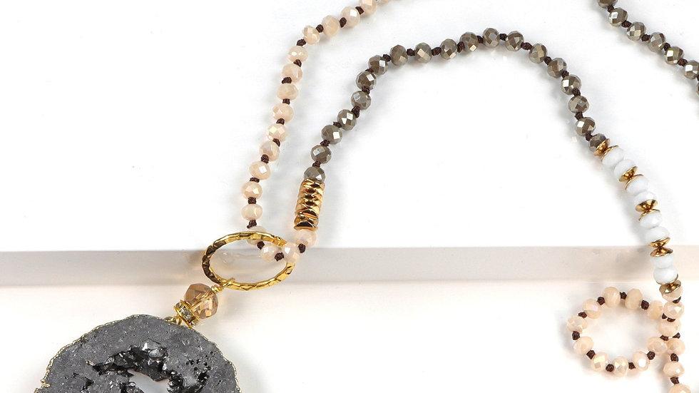 5 Way Druzy Beaded Necklace in Grey