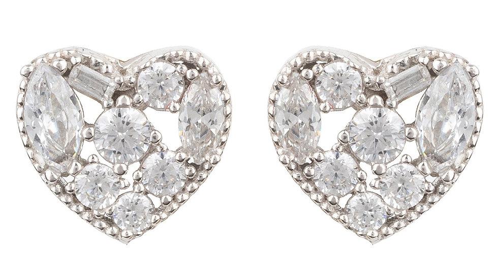 Heart Sparkling Stud Earrings Silver