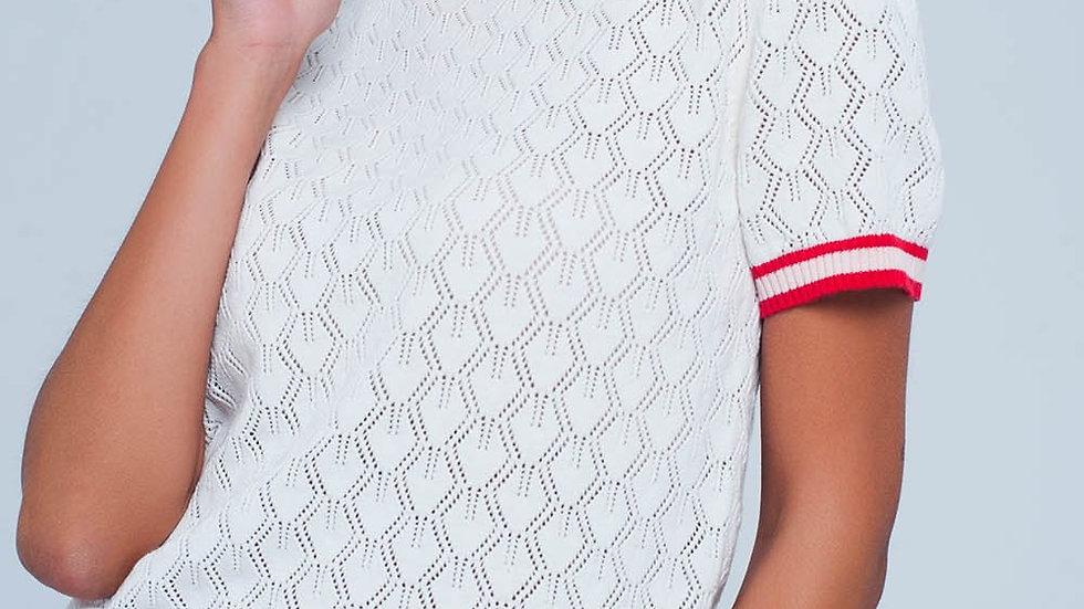 White Open Knit Sweater in Geo Pattern