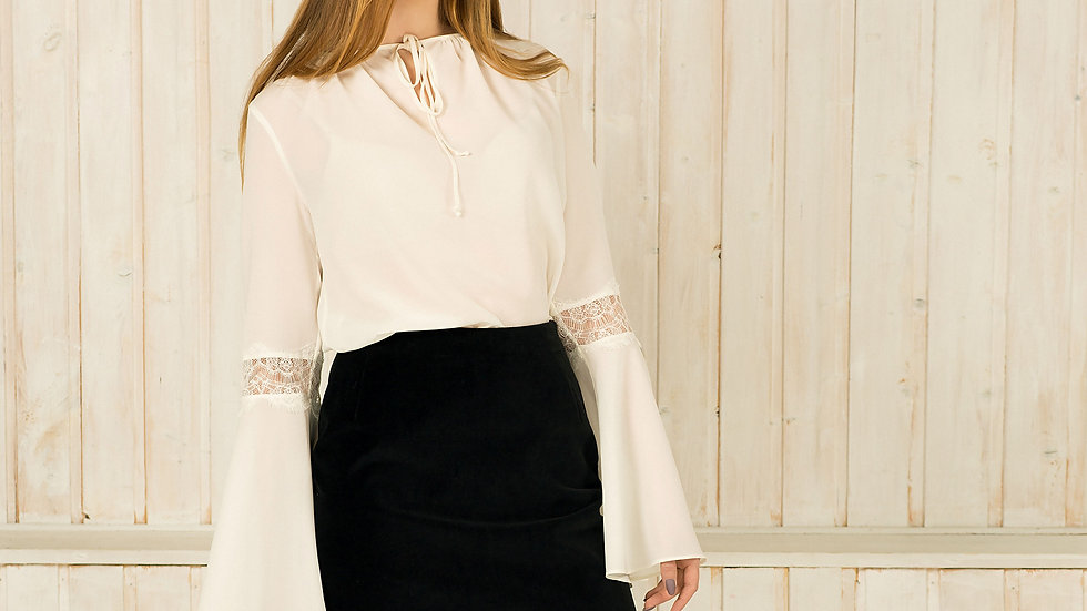 Bohemian Silk Lace Top with Bell Sleeves