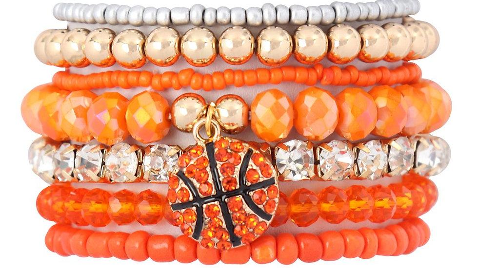 Mixed Beads Charm Basketball Pendant Bracelet