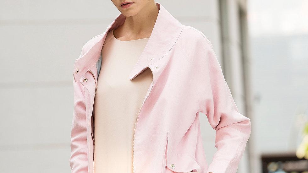Rebel in Pink Faux Suede Oversized Jacket