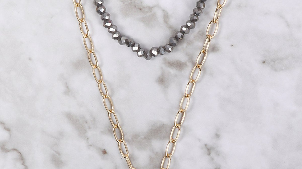 Druzy Glass Bead Link Pendant Round Necklace