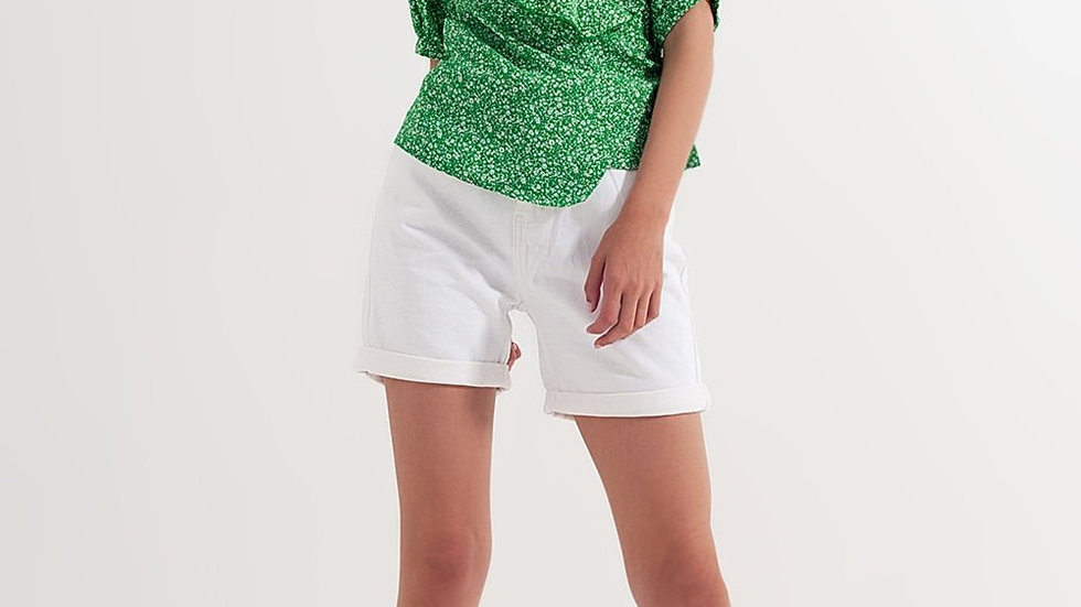 Denim Mum Shorts in White