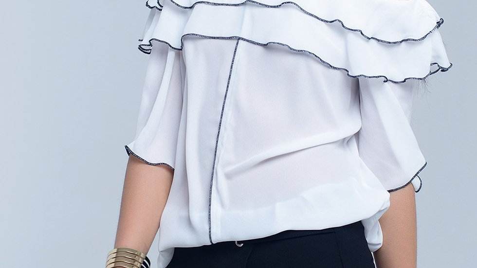 White Blouse With Black Contrast Trim