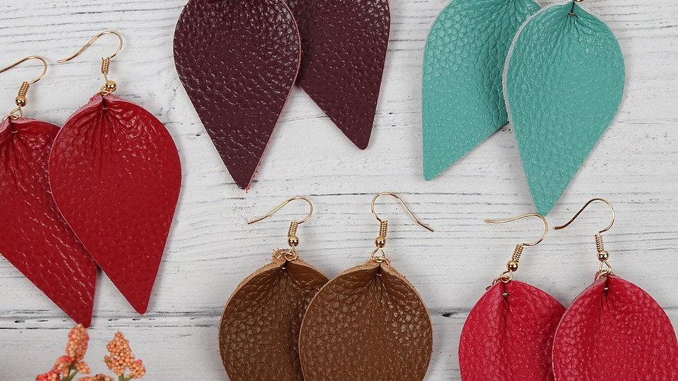 Teardrop Shape Pinched Leather Earrings