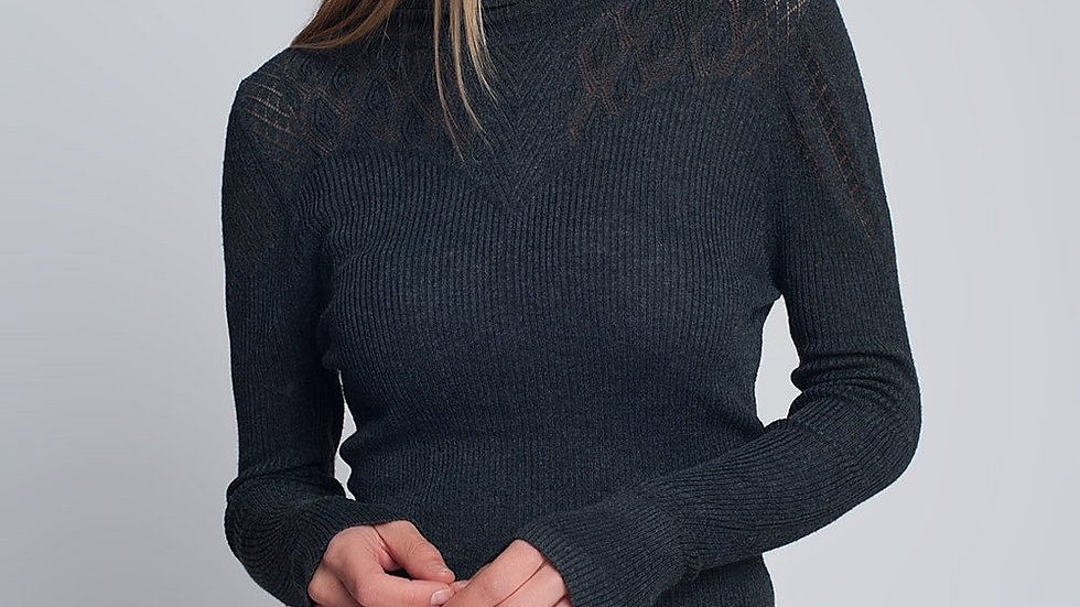 Soft Ribbed Sweater with Turtleneck in Grey