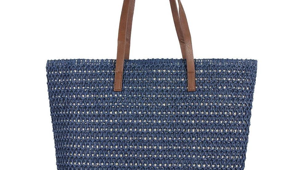 Navy Straw Tote Bag