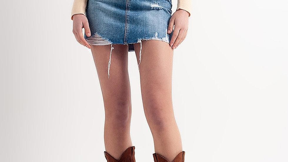 Distressed Hem Denim Mini Skirt