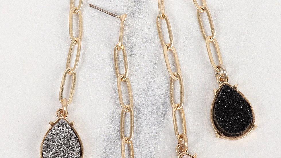 Druzy Metal Link Post Teardrop Earrings