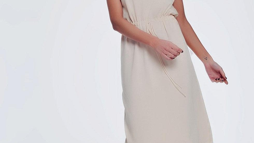 Beige Short Sleeved T-Shirt Dress