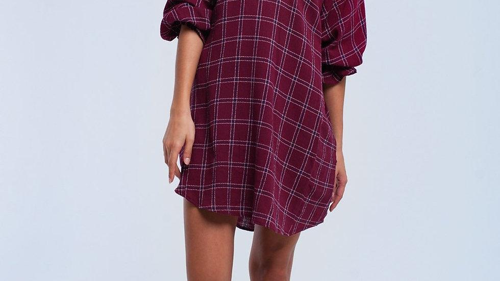 Bordeaux Checked Dress